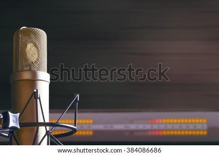 microphone in radio tv  studio - stock photo