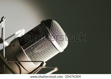 Microphone in studio. - stock photo