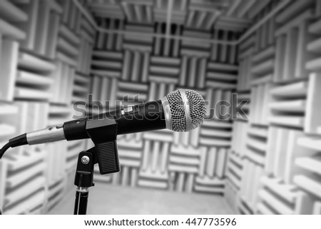 microphone in vocal booth, recording studio - stock photo