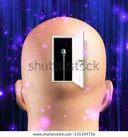 Microphone inside mind - stock photo