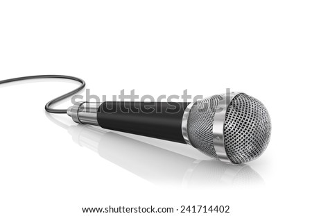 Microphone isolated on the white background. Speaker concept. - stock photo