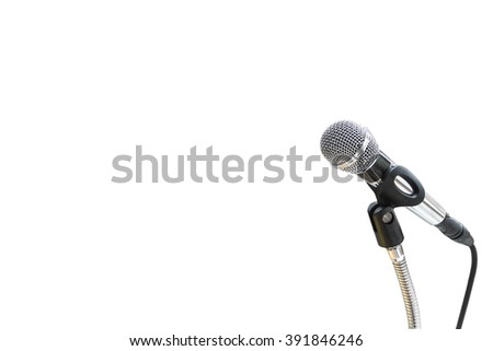 Microphone isolated on white with space to add text - stock photo