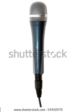 Microphone isolated over white. Top view. - stock photo