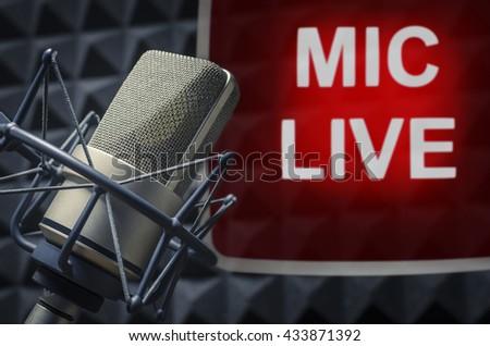 Microphone Live - stock photo