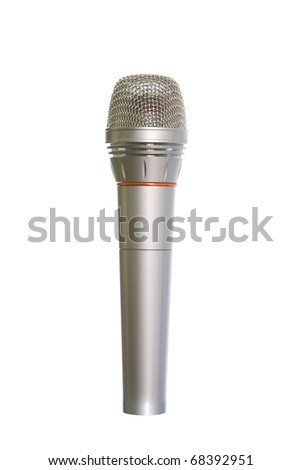 Microphone of silvery color on a white background for singing and music