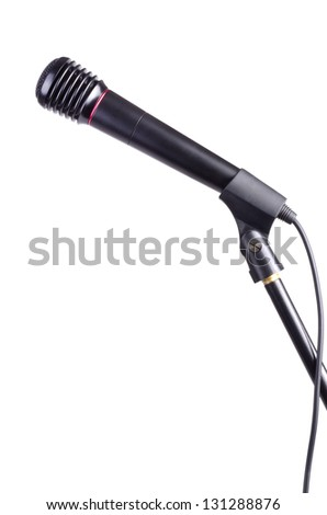 Microphone on a stand on a white background. - stock photo