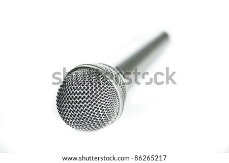 Microphone on a white background. Selective focus. Isolated.