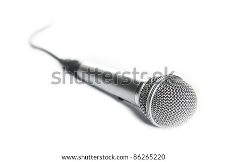 Microphone on a white background. Selective focus. Isolated. - stock photo