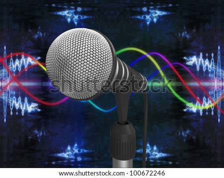 Microphone on abstract background - stock photo