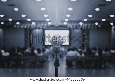 microphone on Conference room,meeting and event,speech concept,business concept - stock photo