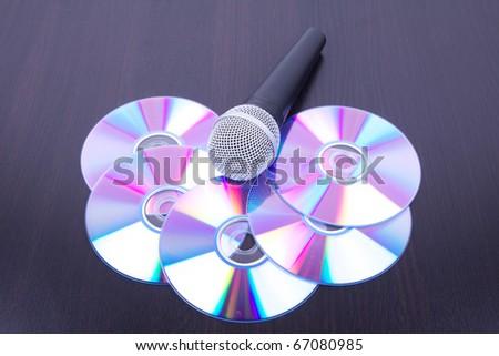 Microphone on discs, closeup - stock photo