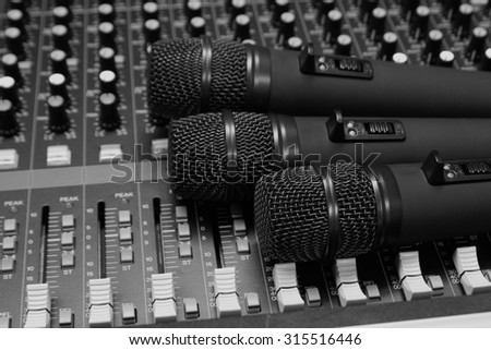Microphone on sound Mixer  close.(Black and white)