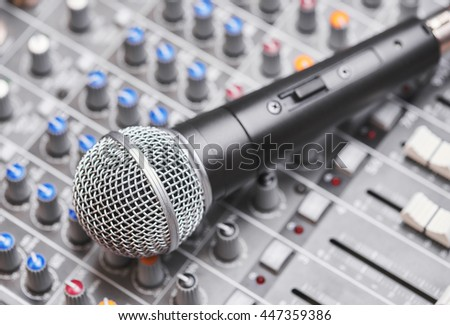 Microphone on sound mixing console