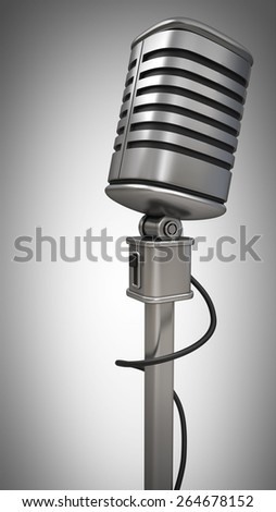 microphone on stand isolated on gray background. High resolution 3d