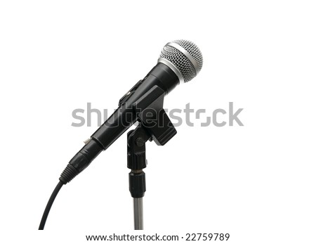 Microphone on stand isolated on white - stock photo