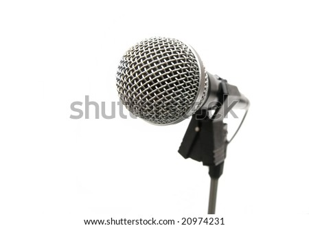 Microphone on stand isolated on white background - stock photo