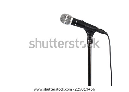 Microphone on stand, on white background - stock photo