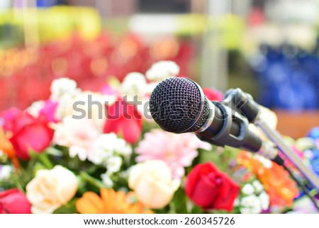 microphone on the stage - stock photo
