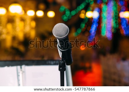 microphone on the stage closeup