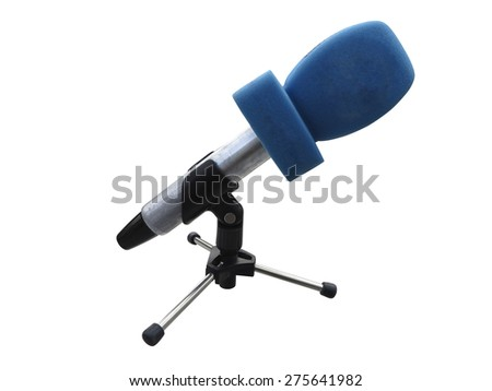 Microphone on tripod with blue wind protection isolated on white background - stock photo
