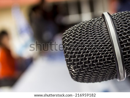 microphone ready for us - stock photo