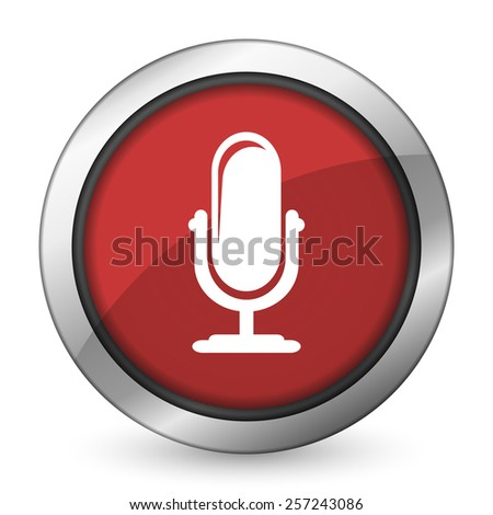 microphone red icon podcast sign  - stock photo