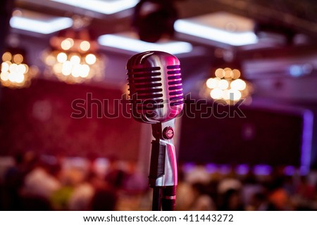 Microphone. Retro microphone. A microphone on stage. A pub - stock photo