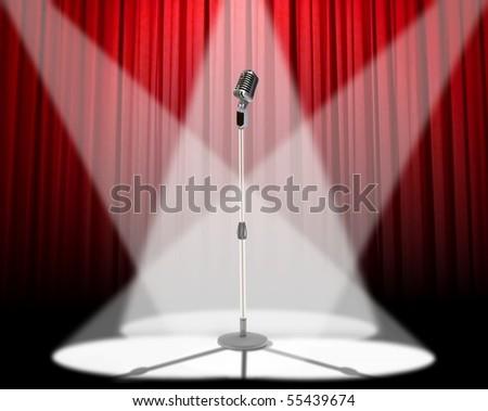 Microphone spotlight - stock photo