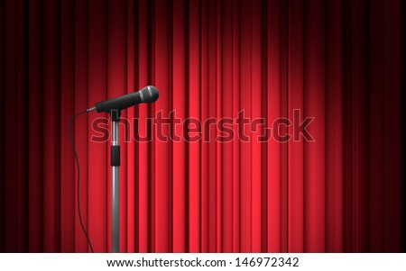 Microphone stand on stage background - stock photo
