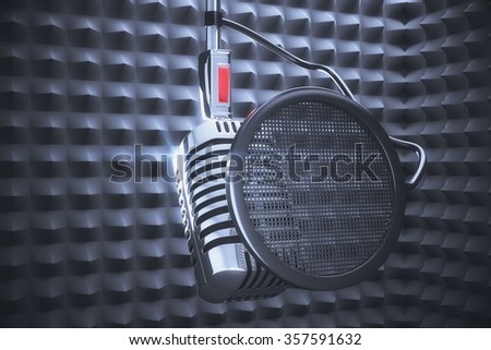 Microphone to record in studio record - stock photo