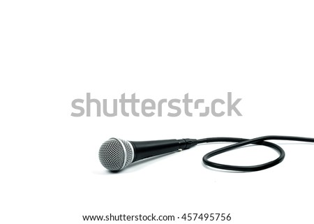Microphone with cable on white background - stock photo