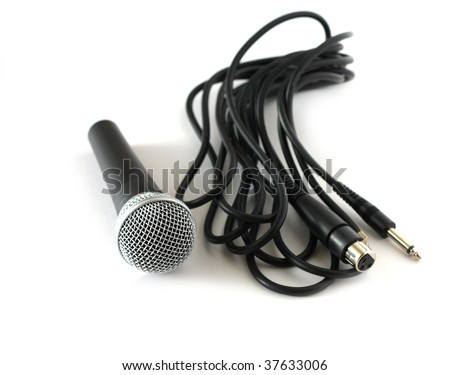 microphone with cable over white - stock photo