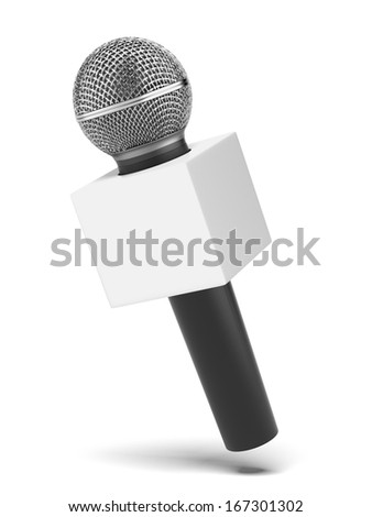 microphone with copy space box - stock photo