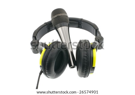 Microphone with headphones isolated on a white background
