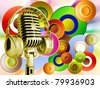 Microphone with headphones on background - stock vector