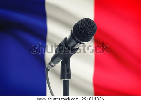 Microphone with national flag on background series - France - stock photo