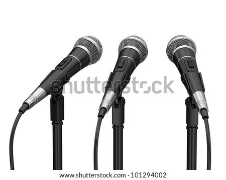 Microphones isolated on white background - stock photo