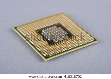 Microprocessor isolated on the gray background - stock photo