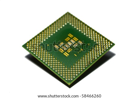 Microprocessor isolated on white background - stock photo