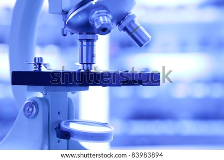 microscope in a medical lab - stock photo