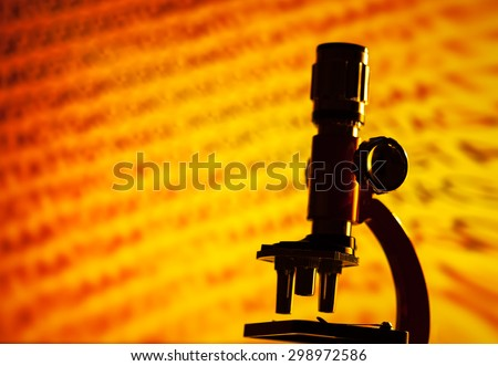 Microscope in laboratory. Science theme. - stock photo
