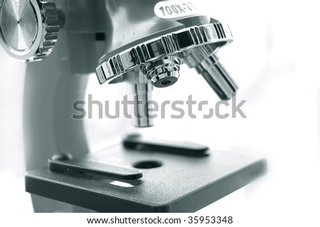 microscope lens monochrome - stock photo