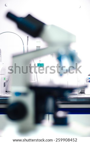Microscope lenses out of focus.Abstract scientific background - stock photo