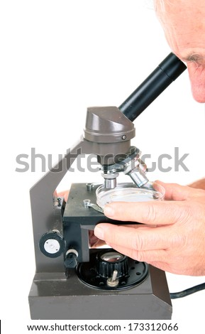 Microscope used for Biological, Medical, Forensics, Science, Chemistry, Industrial, and other uses around the world. Microscopes can see objects that you can not see with the naked eye. On White - stock photo