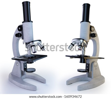 Microscope. White background - stock photo