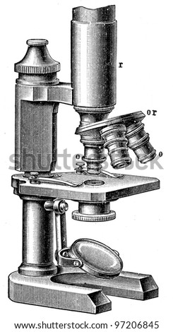 microscope with three lenses - an illustration of the encyclopedia publishers Education, St. Petersburg, Russian Empire, 1896 - stock photo