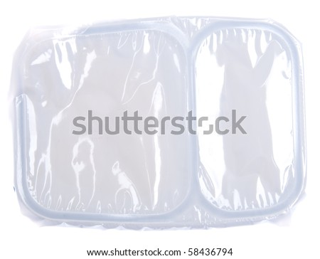 Microwavable TV Dinner Container Sealed.  Isolated on White.