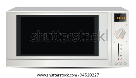 Microwave Isolated on White - stock photo
