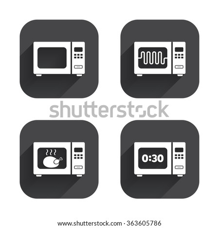 Microwave oven icons. Cook in electric stove symbols. Grill chicken with timer signs. Square flat buttons with long shadow.