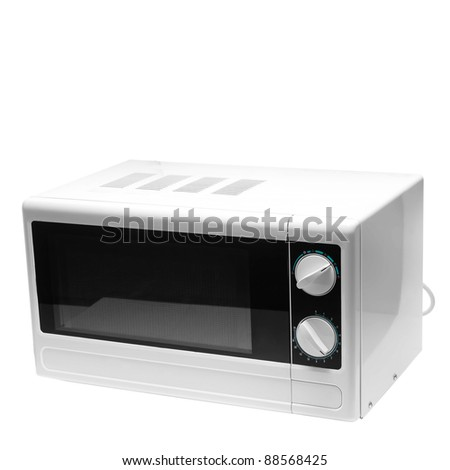 microwave oven is isolated on a white background - stock photo